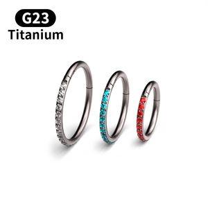 1Pc Top-Qualität G23 Titan 16G Zircon Septum Clicker Piercing Daith-Nasen-Ring-Körper-Piercing Hanger Clip On Fashion Jewelry