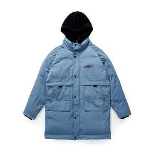 2019 الخريف والشتاء المد العلامة التجارية الجديدة عارضة فضفاض أسفل معطف سميك مقنعين طويلة الرجال سترة