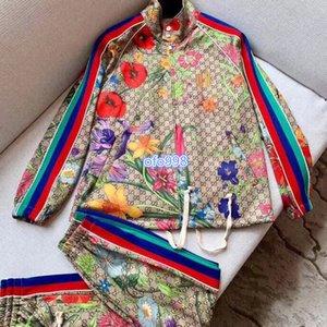 High end mulheres Pants terno encabeça casaco de manga comprida cor que combina a flor carta padrão de distribuição imprimir cardigan superior e calças casuais terno