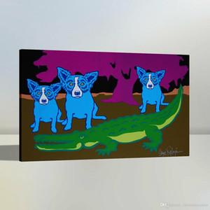 vA. Alta qualidade pintado à mão HD Imprimir Oil Art Modern Abstract animal da pintura do cão azul na lona Wall Art Home Office Deco a36