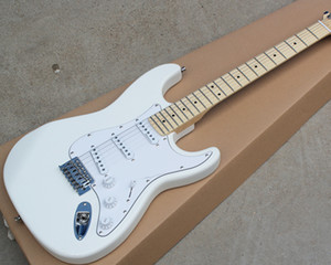 Factory wholesale white electric guitar with 3S pickups,Maple fingerboard,22 frets,Chrome hardwares,offering customized services