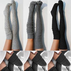 Femmes Lady laine chaude en tricot Plus de genou Cuissardes Bas Chaussettes Collants Collants