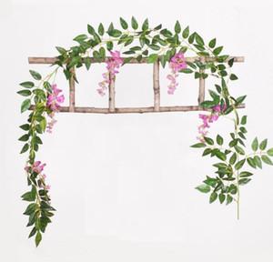 2M 긴 5 가지 색상의 인공 등나무 덩굴 꽃, 꽃 등나무 호텔 홈 웨딩 장식 인공 꽃 문자열에 대한
