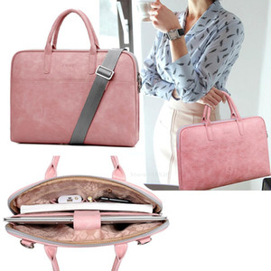 Laptop Fashion Scratch-resistant Pu Waterproof Briefcase 13 14 15 inch Notebook Shoulder Bag Carry Case For women and men