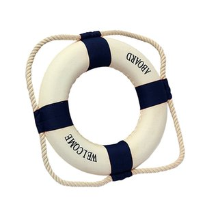 Welcome Aboard Foam Nautical Life Lifebuoy Ring Boat Wall Hanging Home Decoration Blue 50cm