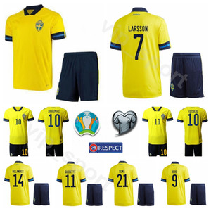 Svezia Euro 2020 Calcio 7 Sebastian Larsson Jersey Set 10 Zlatan Ibrahimovic 11 Alexander Kacaniklic 19 Daleho Irandust Football Shirt Kit