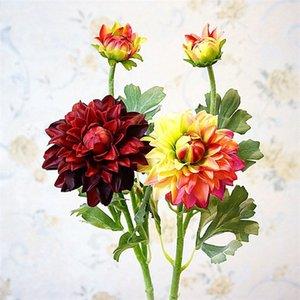 """Sahte Kısa Kök Tafting Dahlia 22"""" Uzunluk Simülasyon Akrep Şakayık Düğün Ev Dekoratif Yapay Çiçekler için"""