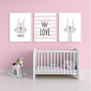 Rosa de dibujos animados chica Nursery cuadro de la pared impresión del cartel del conejo de la corona del sitio del bebé moderna lienzo de pintura niños hijos de la pared del arte mural