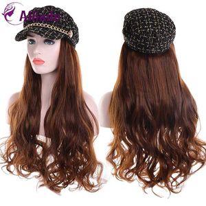 AILIADE New Automne Hiver longue perruque / perruque droite avec chapeau synthétique résistant à la chaleur Piece Hair Fashion Cap cheveux