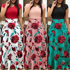señoras de la manera temperamento de cercanías partido delgado impreso floral ola punto vestido impreso ajuste pivotar vestido largo más tamaño