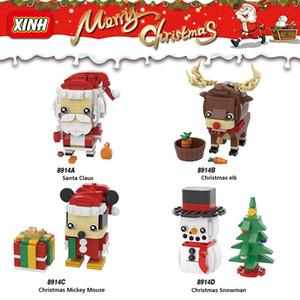 Mini Weihnachtsspielzeug Geschenke Puzzle Montage Bausteine Baum Elche Santa Claus Schneemann Maus Weihnachten Geschenk Quadratische Kopf Tsai Ziegelsteine