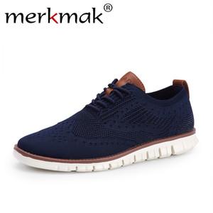 Merkmak Rahat Örme Örgü erkek Ayakkabı Katı Sığ Dantel Kadar Hafif Yumuşak Erkekler Sneakers Ayakkabı Nefes Adam Ayakkabı Daireler