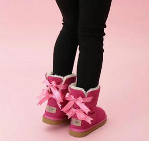 niños Bailey Botas 2 arcos pequeños de cuero genuino botas de nieve sólido Botas de nieve invierno de las muchachas calzado del niño Niñas Botas