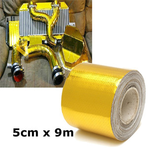 9mx5cm Adhesive Reflective Gold High Temperature Fiberglass Heat Shield Wrap Tape Roll Barrier for Car Truck Motorcycle