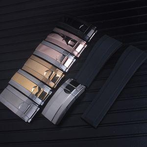 Correa de calidad superior de 20 mm apta para ROLEX SUB / GMT nuevo suave y resistente al agua banda de accesorios de reloj con cierre de acero original en oro rosa