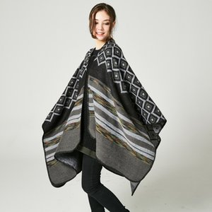 Diamond Colorful Strips Women Scarfs Cashmere Imitation Long Warm Cape Soft Thick Gift To Ladies Shawl Wraps Lady Poncho Cheap