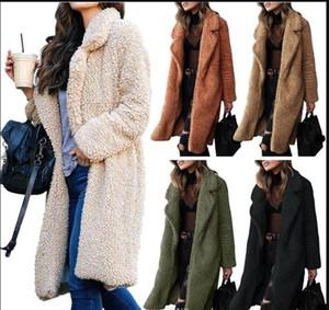 Peluche di inverno risvolto collo Womens Long Coats modo del cardigan cappotti di lana casuale solido donne della tuta sportiva di colore