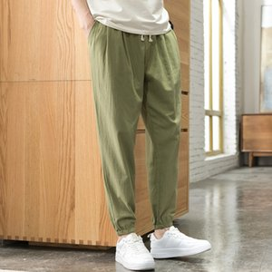 Japanese Streetwear Summer Autumn Harem Pants Men Casual Elastic Waist Cotton and Linen Breathable Korean Clothes Trousers Men