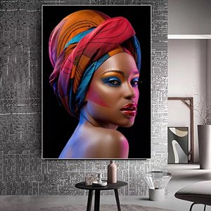 Red Lips Sexy Black Nude African Woman Portrait Modern Canvas Painting Posters and Prints Scandinavian Wall Art Picture for Living Room