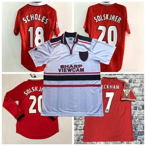 Retro 1998 1999 2000 camicia di calcio Solskjær GIGGS SCHOLES BECKHAM Manchester United 98/99/00 Retro calcio maglie S-2XL