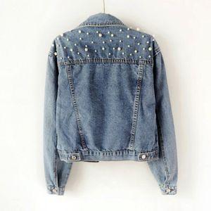 Fashion-Boyfriend джинсовая куртка Женские жемчужины Крупногабаритные джинсовые куртки Урожай с длинным рукавом Повседневное пальто Дамы Однобортный бомбер