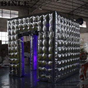 High quality 3m silvery inflatable photo booth led photobooth inflatable cube tent for wedding party