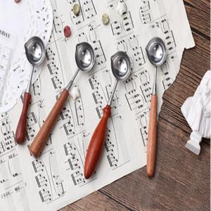 Mango de madera sello Cuchara de época Lacre Cuchara anti DIY caliente de la vela de cera accesorios de alta calidad herramientas de sellado especiales LXL866Q