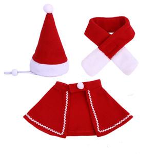 Weihnachten Pet Mantel Hut Schal Set Weihnachten rot Welpen-Katze-warme Kappe Umhang New Year Party Hundeschmuck