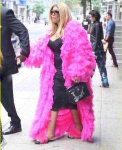 Chic di colore rosa caldo di Tulle del rivestimento Puffy Tiers Tulle Piano Lunghezza maniche lunghe Donne Fashion Party Wear Giacche T200324