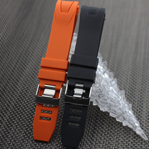 Uhrenarmbänder Männer Orange Schwarz Wasserdichte Silikonkautschuk Uhrenarmbänder Armband Verschluss Schnalle Für Omega Planet-Ocean 20mm 22mm