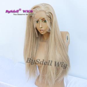 Kunsthaar Erwachsene Volle Spitzefrontseitenperücke aschblonde Mischung Farbe Haarperücke Lange Seide gerade transparent Lace Front Perücken für weiße Frauen