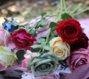 Искусственные розы цветы Фланелевые розы венки свадебные букеты корсаж запястье цветок головной убор центральные партии декор новый GGA2529