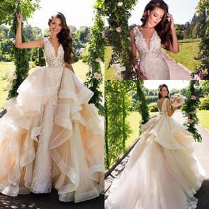 Milla Nova Luz Champagne Sereia Vestido de Noiva Do Laço com Trem Destacável V Profundo Pescoço Sem Encosto Do Casamento Vestidos de Noiva Lace Appliqued
