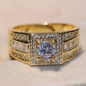 Superbe originale main de luxe Bijoux 10KT or jaune Rempli rond blanc Topaze CZ diamant Gemstones hommes mariage Bague pour Lovers