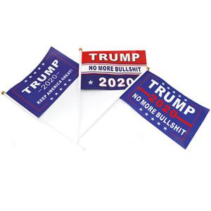 Ручной Trump Flag 2020 Keep America Great Donald Для президента США Выборов волна руки с флагштоком WX9-1846