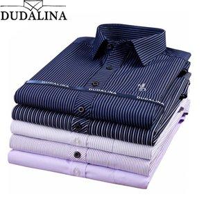 Dudalina Male Striped Shirt Brand Clothing Pocket Mens Long Sleeve Shirt Summer Slim Fit Casual Shirt Men Clothes CX200620