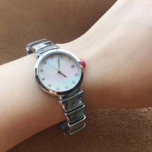 Saphir solide affaire dos rose Bracelet en acier inoxydable Bracelet 29MM White Diamond Dial Femmes Montres Quartz Ladies Watch avec Red Watche Ear