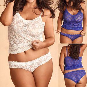 Mulheres Plus Size Lingerie Corset Rendas Underwire Racy Muslin Sleepwear Cueca super sexy e sedutor Tops + Briefs Novo presente