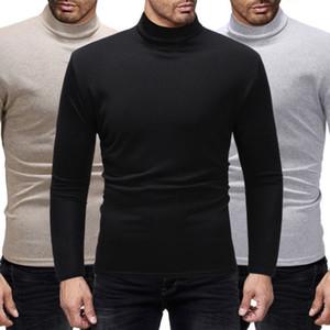 Quente Outono Inverno camisola de gola alta Homens Moda Sólidos malha Mens Camisolas 2018 Casual Collar Masculino Duplo Slim Fit pulôver