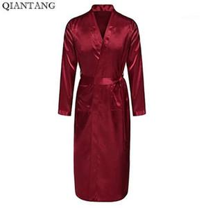 Bourgogne Hommes Robe Vente Chaude Faux Soie Kimono Bath Robe Peignoir Chemise de nuit de nuit Hombre Pijama Taille S M L XL XXL ZhM0551