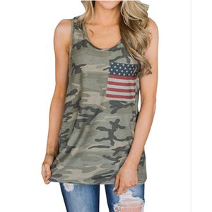 Summer women camo tank top sleeveless flag pockets shirts lady independence day flag t shirts new style