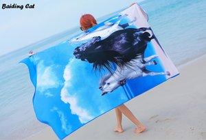 Синий лошадь микрофибры мягкий абсорбент пляжное полотенце большой размер 100x180 см плавание Plage быстросохнущие банные полотенца толстый бикини Шаль 450 г Y200429