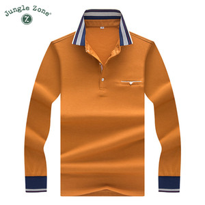 JUNGLE ZONE 2018 new men's long-sleeved POLO men's business casual polo solid color Pocket lapel polosshirts 8889 CX200630