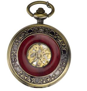 Envío gratis Antique Bronze Skeleton reloj de bolsillo mecánico de madera reloj de bolsillo de los hombres de lujo con cadena de regalo reloj al por mayor