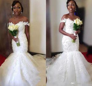 Новое поступление Сексуальные африканские русалки свадебные платья с плечевой кружевной аппликации развертки поезда свадебное платье свадебные платья Vestidos de Novia Custom