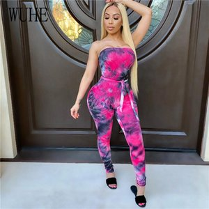 WUHE Sexy Tie Dye Print Fitness Ribbed Knitted Skinny Jumpsuit Strapless with Belt Summer Bodycon Women Rompers Sportswear
