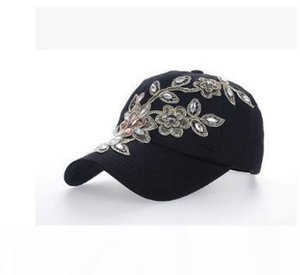 New design TOP sale Golden Flower with drill rhinestone baseball caps adjustable hats balck white color fashion popular caps drop shipping