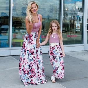 Евро-американских женщин взрывной родитель-ребенок платье мать-дочь шить платье юбка мать и дочь женщины перо сращивания сарафан S