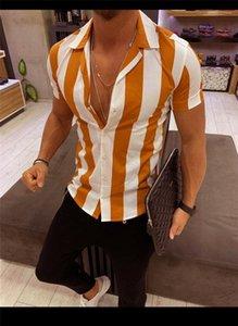 Shirts Sommer-Kurzschluss-Hülsen-Revers-Ausschnitt Panelled Farbe Herren-Oberteile Striped dünne Designer zufällige Männer Druck