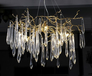 Éclairage Grandes branches artistiques Lustres Glaçure colorée Lustre Éclairage léger Lustres pour hôtel Lampes pendantes en cuivre LLFA